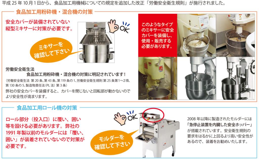食品加工用機械についてのお知らせ